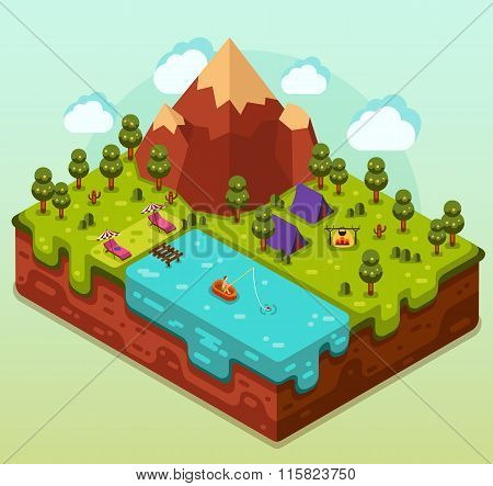 Isometric landscape with camping