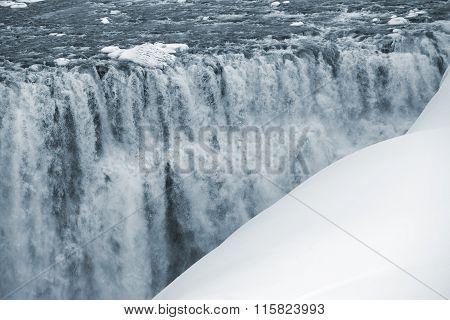 Waterfall Dettifoss In Iceland, Wintertime