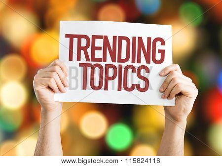 Trending Topics placard with bokeh background