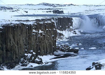 Waterfall Selfoss In Iceland, Wintertime