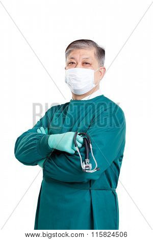 old asian man doctor in green gown and mask with stethoscope