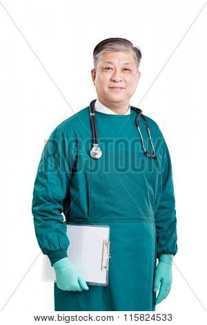 old asian man doctor in green gown and gloves with stethoscope and clipboard