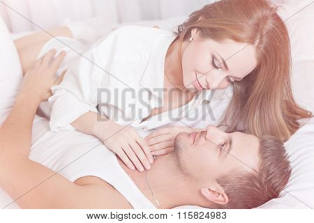Tenderness Morning Of Young Couple
