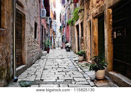 Street in the old town of Rovijn, Croatia