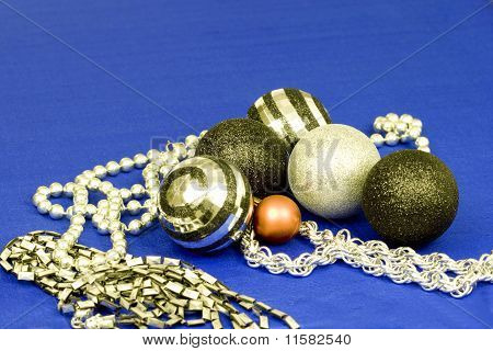 Xmas Baubles And Beads In Silver, Black And Red