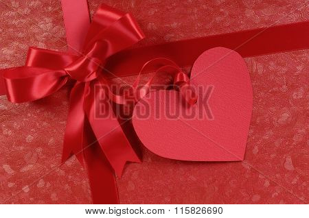 Red Valentines Day Gift, Heart Shape Gift Tag Or Label, Copy Space