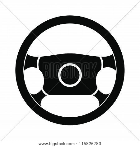 Steering wheel black simple icon