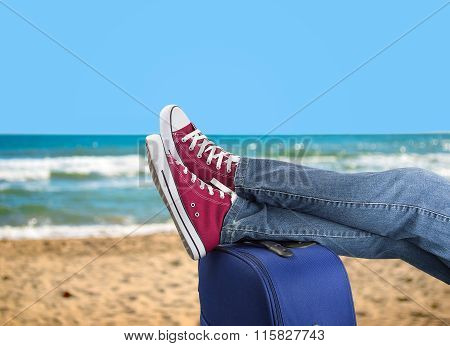 Relaxing On The Beach With My Suitcase