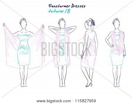 Transformer dresses women clothes and accessories, hand drawn instruction how to wear a universal dr