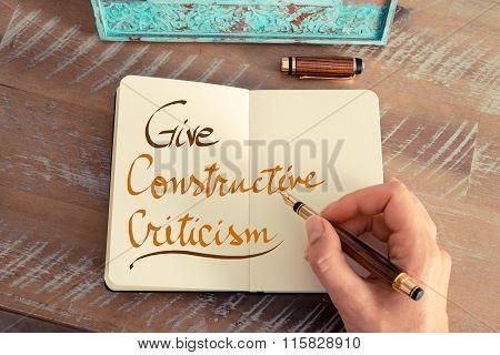 Handwritten Text Give Constructive Criticism