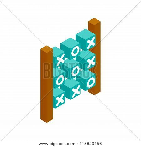 Tic tac toe game isometric 3d icon
