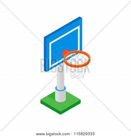 Basketball goal on a playground isometric 3d icon