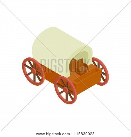 Western covered wagon isometric 3d icon
