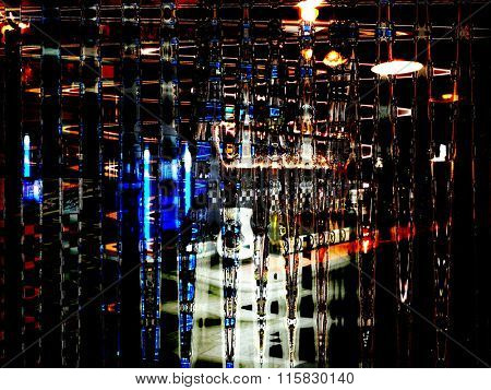 Night lights background in abstract glitch art