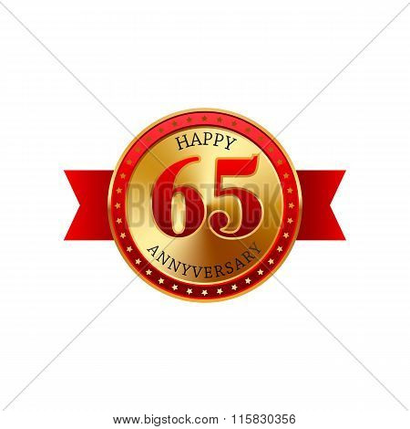 65 years anniversary golden label with ribbons