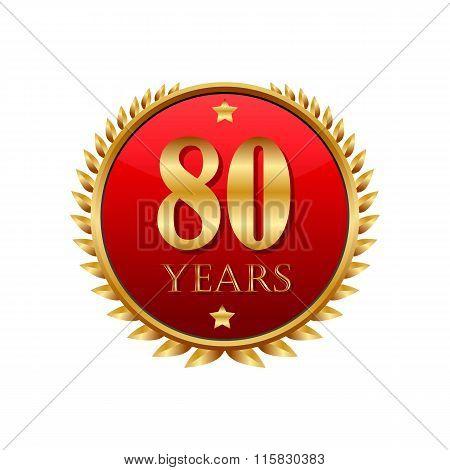 80 years anniversary golden label