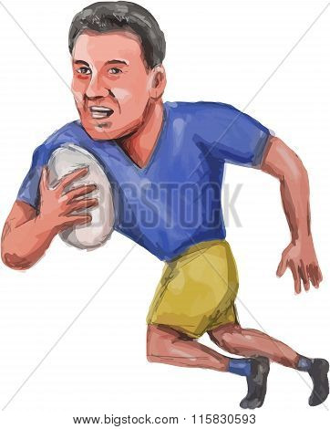 Rugby Player Running Ball Caricature