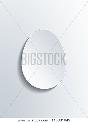 Simple flat white egg shape with beveled edges as background or symbol with copy space. 3d Rendering