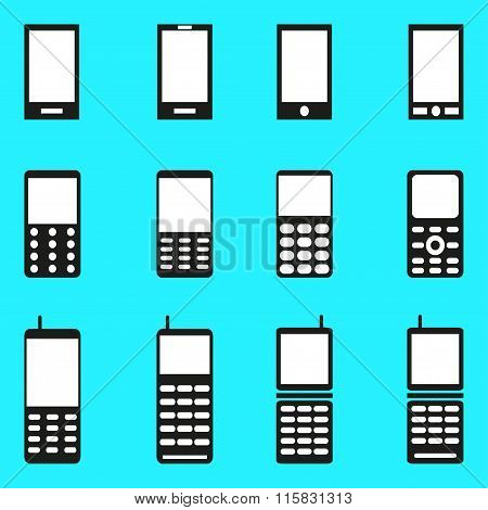 Mobile Phones Collection Of Monochrome Symbols