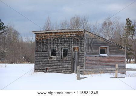 A farm outbuilding in winter