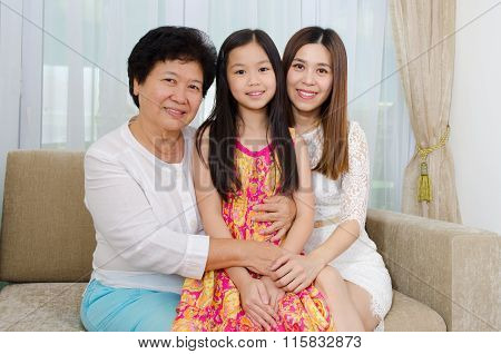 Asian Senior Woman Together With Daughter And Granddaughter