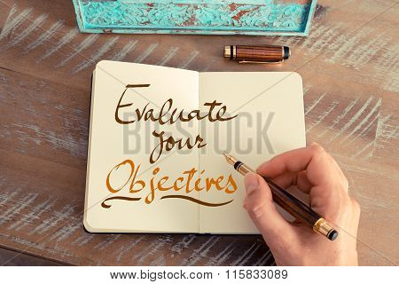Handwritten Text Evaluate Your Objectives