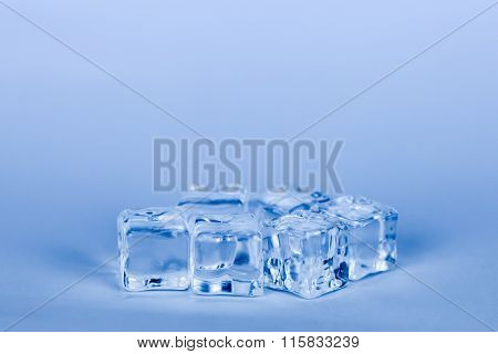 Ice Cubes On Grey Background (blue Cooling Style)