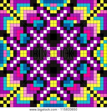 Colored Pixel Psychedelic Background Vector Illustration