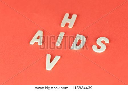 Hiv And Aids Puzzle On Red Blood Background