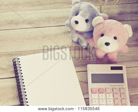 Notebook Paper With Calculator And Couple Teddy On Wood Floor , Digital Effect Vintage Style