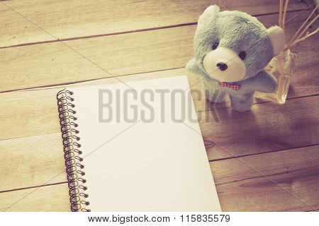 Notebook Paper With Light Blue Teddy On Wood Floor , Digital Effect Vintage Style