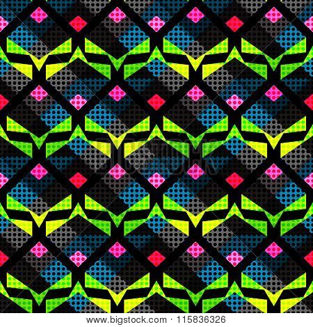 Bright Psychedelic Abstract Geometric Seamless Background