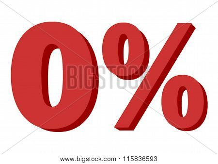 0 % , Fabric Number Isolated On White Background, Indicating Zero Percent Interest Or Other Financia