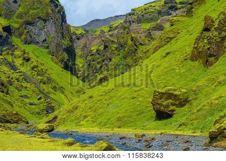 Summer blooming Iceland. Pakgil Canyon - green grass and moss on rocks. At the bottom of canyon flows small fast creek