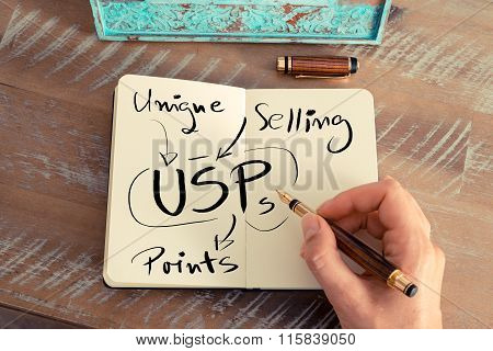 Handwritten Text Usp As Unique Selling Points