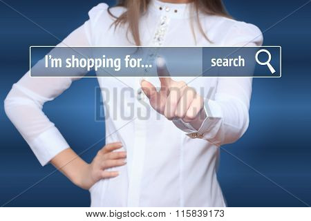 Woman click on virtual e-shop button. E-commerce and B2C concept. i shopping for