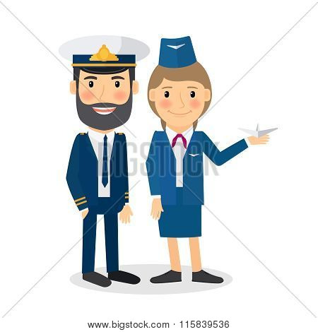 Pilot and stewardess vector characters