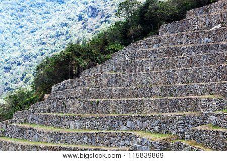 stone terraces on the mountain of Machu Picchu