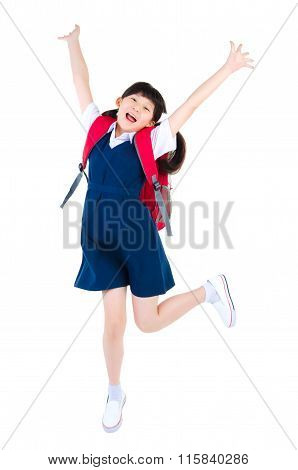 Excited Asian Primary Student
