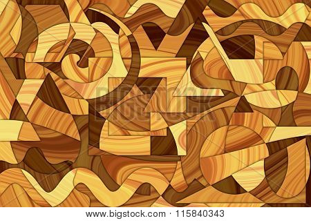 A Cubist Abstract Background with Wood Grain and Swirling Lines and Shapes