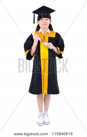 Asian Child In Graduation Gown