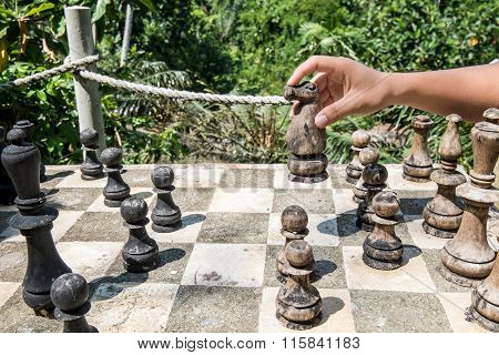 A man playing wooden chess game in the forests