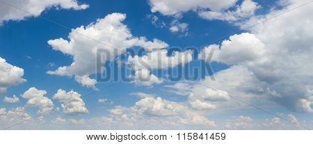 Big size panorama of Blue sky and white clouds, sunny day. You can crop it
