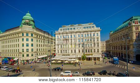 Vienna, Austria - 11 August, 2015: Beautiful view across street from Hotel Sacher and cafe Mozart lo