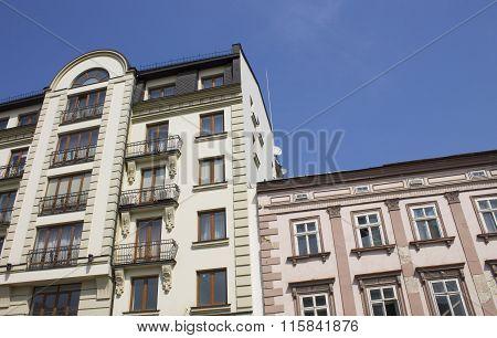 Neat houses in the Ukrainian city of Ivano-Frankivsk