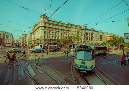 Vienna, Austria - 11 August, 2015: The tram makes its way through city streets on a beautiful sunny