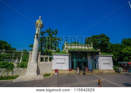 Vienna, Austria - 11 August, 2015: Entrance gate to spectacular Stadtpark gardens