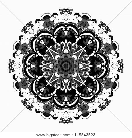 Decorative Mandala Traditional Esoteric Symbol Isolated On White Background