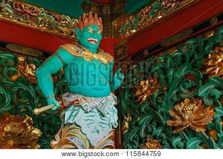 NIKKO, JAPAN - NOVEMBER 17, 2015: Abatsumara - One of the four guardians at the Yashamon Gate of  Taiyuinbyo - the Mausoleum of Shogun Tokugawa Iemitsu, the grandson of Ieyasa : the first Shogun of the Tokugawa clan