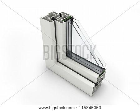 Plastic Window Profile Close Up Isolated On White